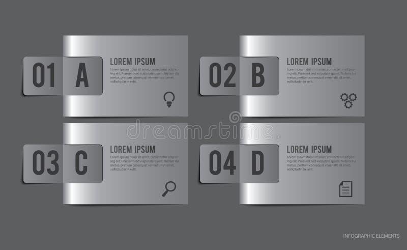 El metal etiqueta los elementos de Infographic foto de archivo