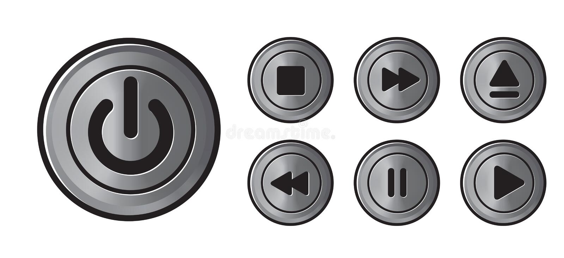 El metall de los iconos del jugador abotona vector stock de ilustración