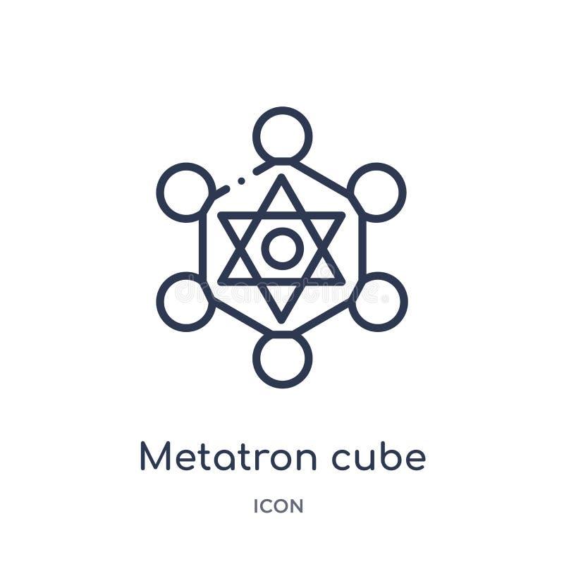 El metatron linear cubica el icono de la colección del esquema de la geometría La línea fina metatron cubica el icono aislado en  libre illustration
