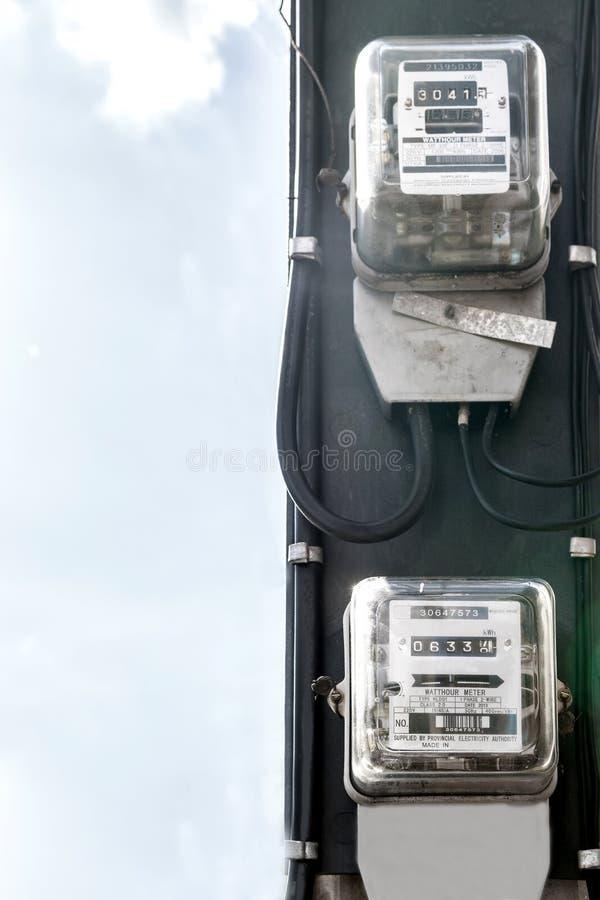 El metro de poder se ata a un polo de poder imágenes de archivo libres de regalías