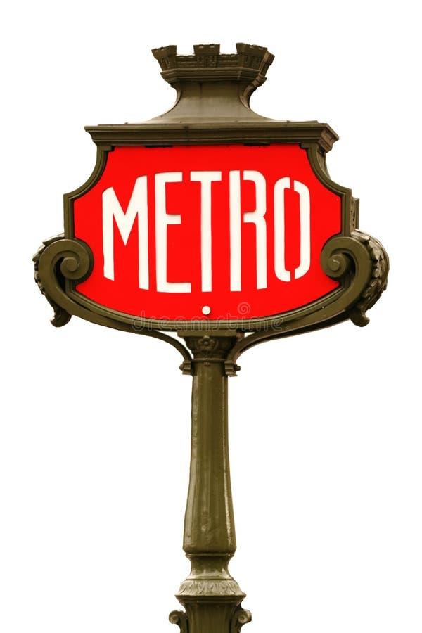 El metro rojo firma adentro París fotos de archivo