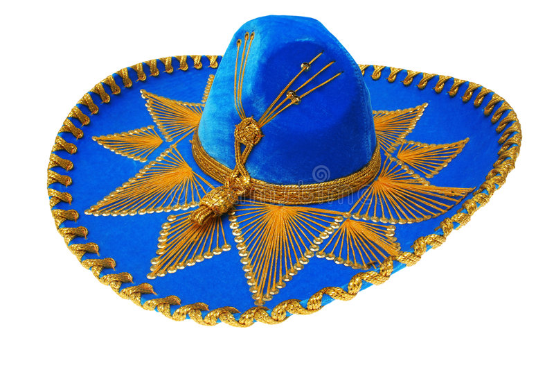 El mexicano azul agradable del sombrero aisló foto de archivo