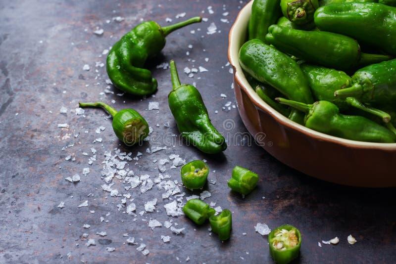 El mexicano caliente verde crudo sazona tapas del español con pimienta del padron de los pimientos morrones del jalapeno fotos de archivo libres de regalías