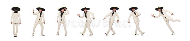 El mexicano divertido en el traje y el sombrero aislados en blanco fotos de archivo libres de regalías