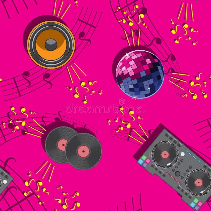 El mezclador inconsútil musical de la bola de discoteca del rosa del modelo de DJ musical observa el vinilo del altavoz ilustración del vector