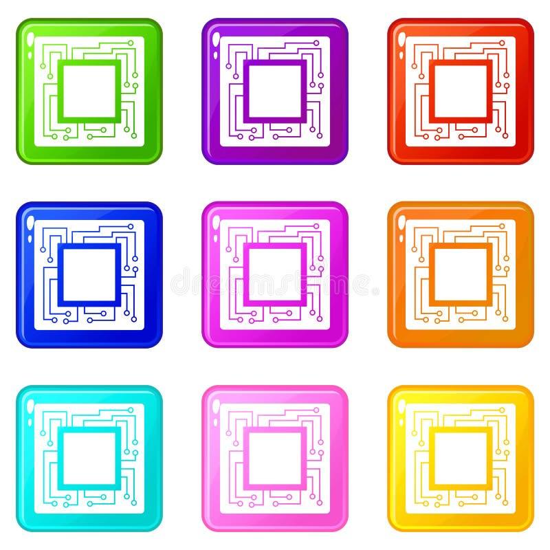 El microchip fijó 9 stock de ilustración