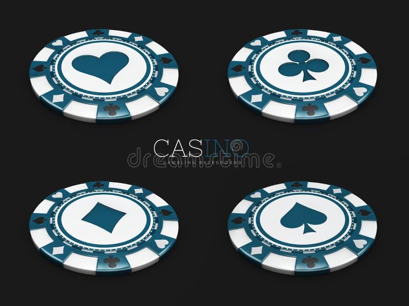 El microprocesador del casino con la tarjeta se adapta al fondo negro aislado ilustración 3D stock de ilustración
