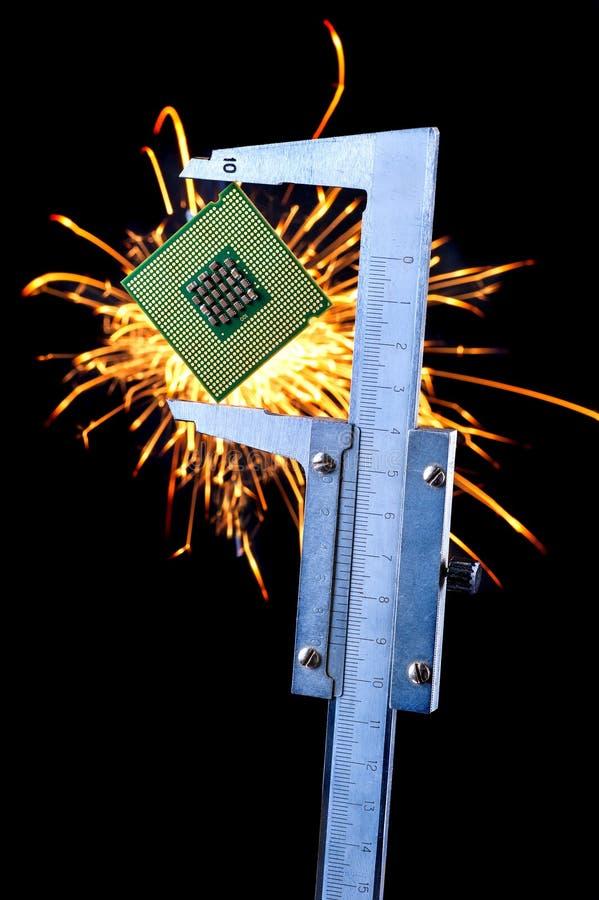 El microprocesador en un calibrador foto de archivo libre de regalías