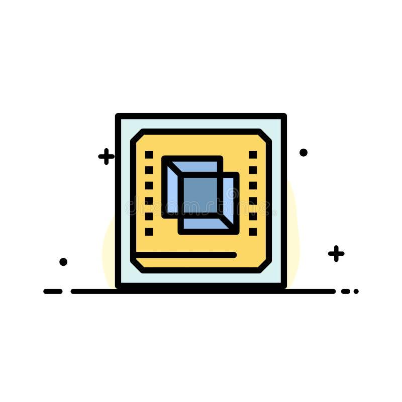 El microprocesador, ordenador, CPU, hardware, línea plana del negocio del procesador llenó la plantilla de la bandera del vector  ilustración del vector