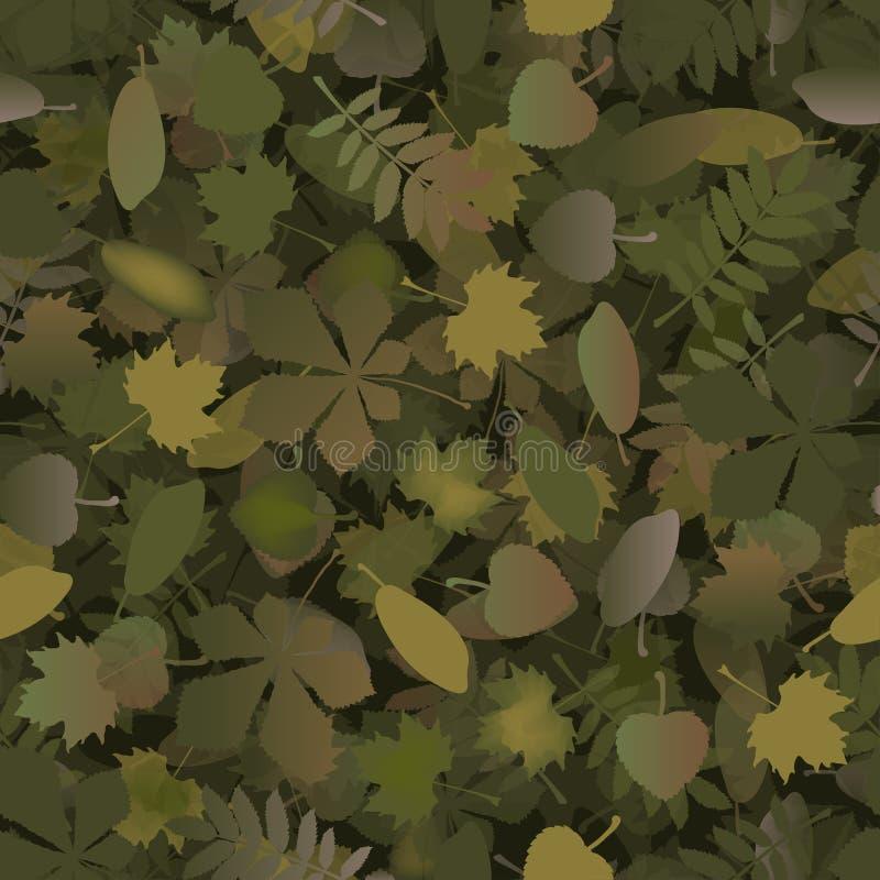 El militar inconsútil de la textura del modelo del camuflaje abstracto repite la ropa de la caza del verde caqui Papel pintado pa stock de ilustración