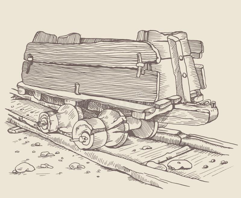 El Minecart histórico stock de ilustración
