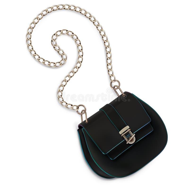 El mini bolso de las mujeres, embrague, con una manija con cadena larga color negro stock de ilustración