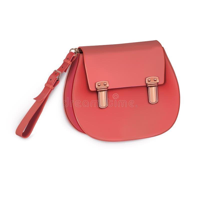 El mini bolso de las mujeres, embrague, monedero con la manija corta Color beige Imagen del vector ilustración del vector