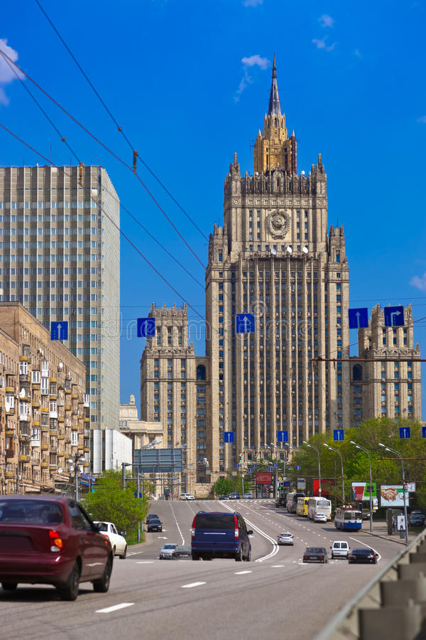 El Ministerio de Asuntos Exteriores famoso del rascacielos de Stalin de Rusia imagen de archivo libre de regalías