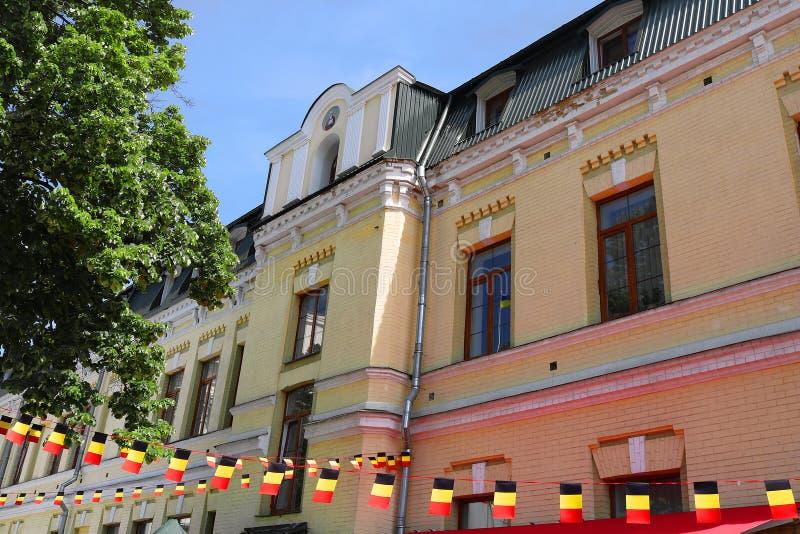 El ministerio de la pol?tica exterior y banderas de Alemania durante los d?as de Europa en Ucrania, Kiev, Ucrania imágenes de archivo libres de regalías