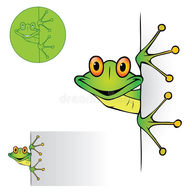 El mirar a escondidas lindo de la rana stock de ilustración
