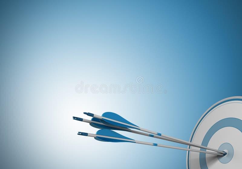 El mismo objetivo, flecha de la blanco ilustración del vector