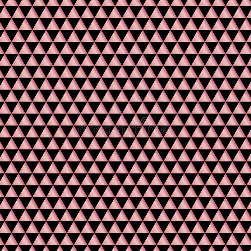 El modelo abstracto subió los triángulos geométricos metálicos del oro en fondo negro Elegante para la web de la bandera, tarjeta ilustración del vector
