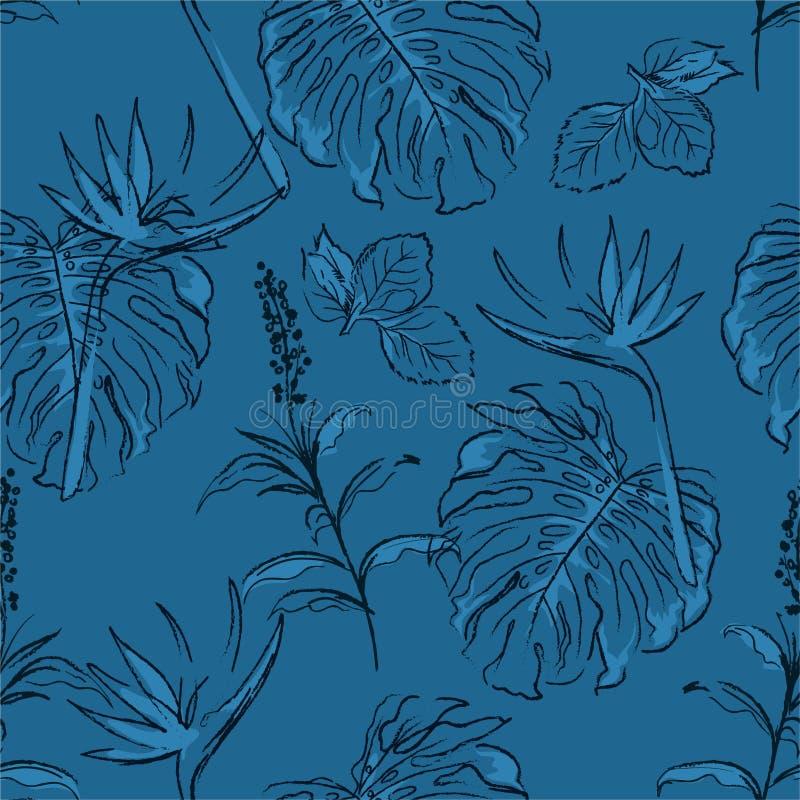 El modelo básico de RGBSeamless monótono en bosque exótico moderno azul en vector con las hojas de palma y garabato exhausto de l libre illustration