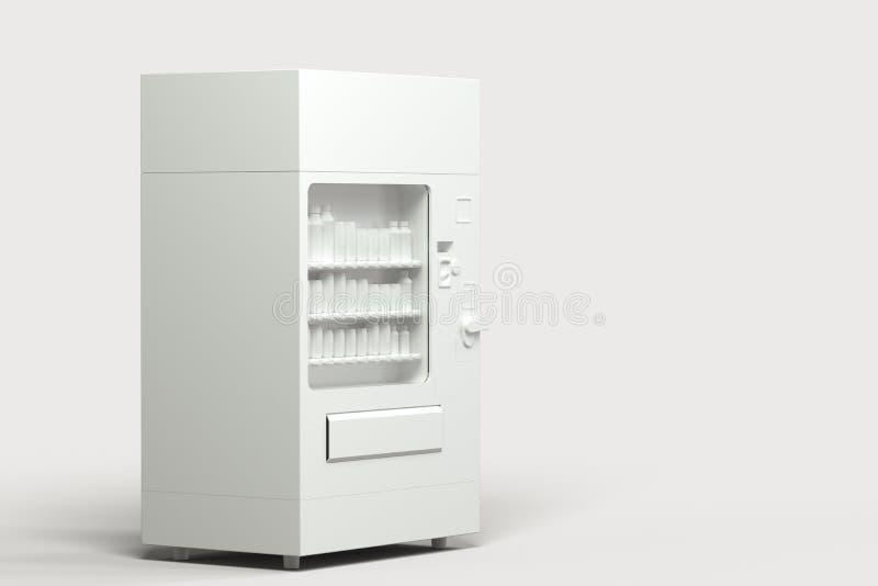 El modelo blanco de la máquina expendedora con el fondo blanco, representación 3d ilustración del vector
