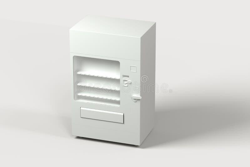 El modelo blanco de la máquina expendedora con el fondo blanco, representación 3d stock de ilustración