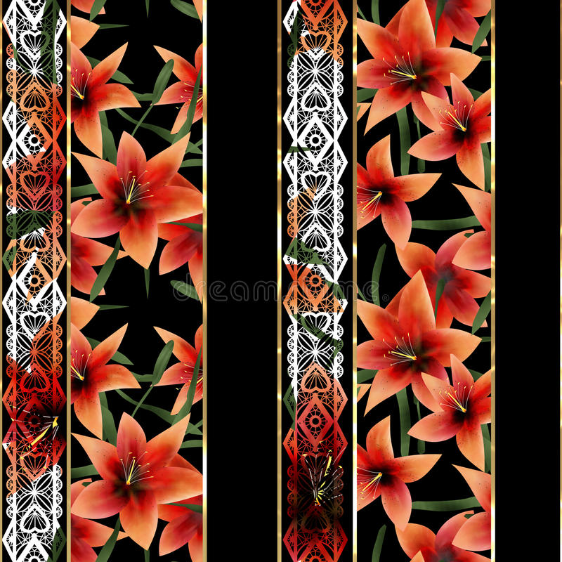 El modelo blanco floral inconsútil del cordón con la naranja florece el backgroun libre illustration