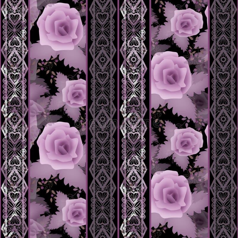 El modelo blanco floral inconsútil del cordón con las rosas florece el fondo libre illustration
