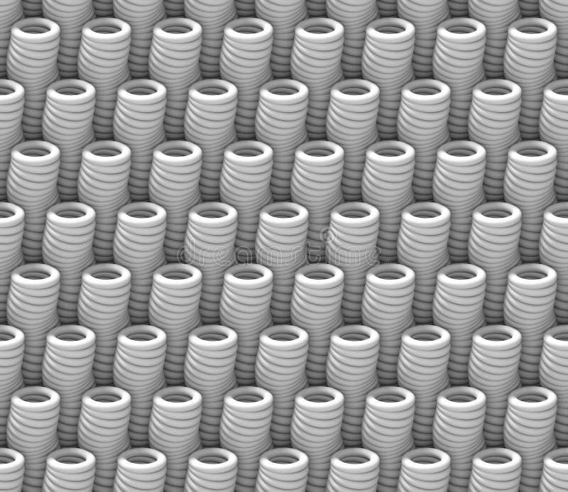 El modelo blanco inconsútil del fondo del extracto 3d hecho del tubo extraño se opone ilustración del vector