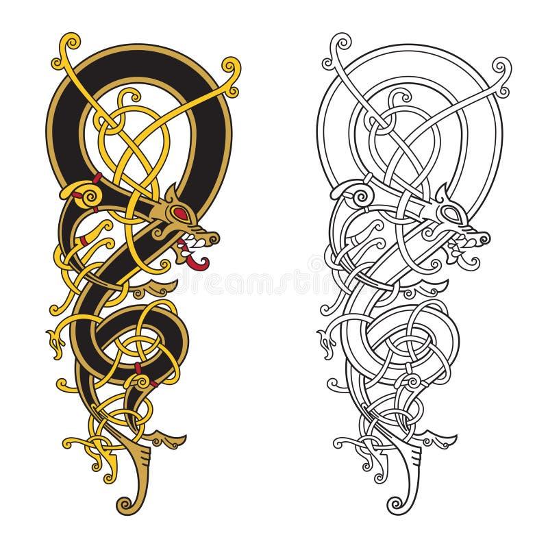 El modelo céltico, escandinavo del vintage está bajo la forma de dragón torcido libre illustration