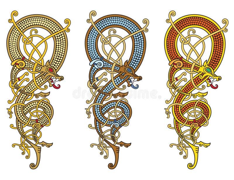 El modelo céltico, escandinavo del vintage está bajo la forma de dragón torcido stock de ilustración