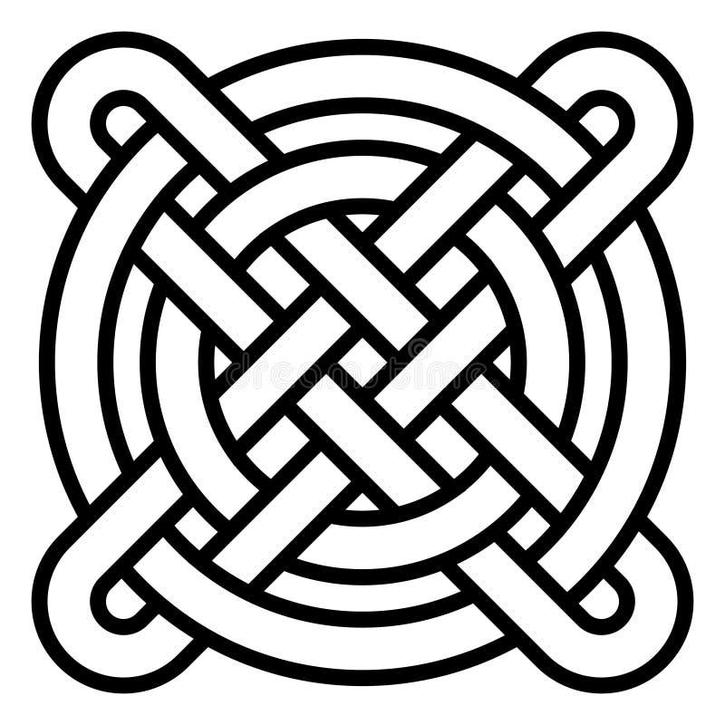 El modelo céltico nacional entrelazó los círculos y la cruz, modelo chino que tejía, el símbolo del vector de la felicidad ilustración del vector