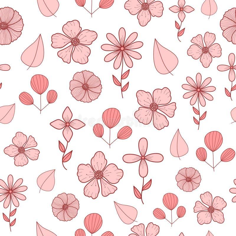 El modelo con garabato del rosa en colores pastel florece y las hojas ilustración del vector