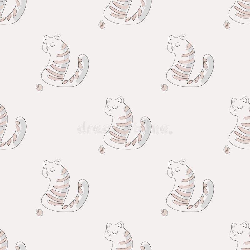 El modelo con el gato dio vuelta alrededor en la bola ilustración del vector