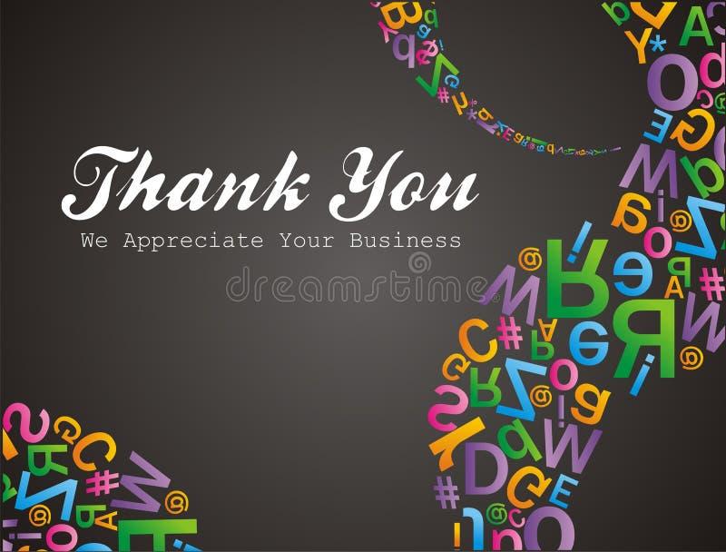 El modelo de Alfabet le agradece nosotros apreciate su negocio stock de ilustración