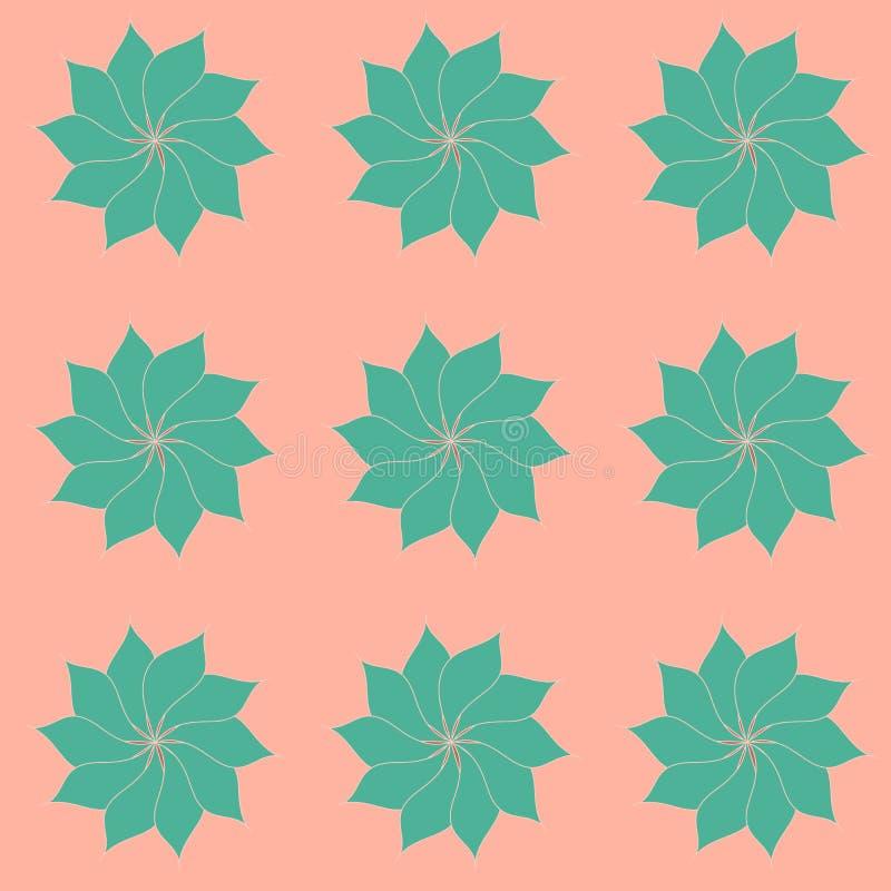 El modelo de hermoso, turquesa florece con los pétalos oblongos en un melocotón, fondo rosado apacible Ilustración del vector stock de ilustración