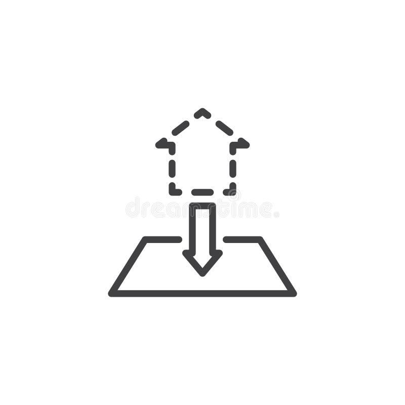 El modelo de la casa planea la línea icono ilustración del vector