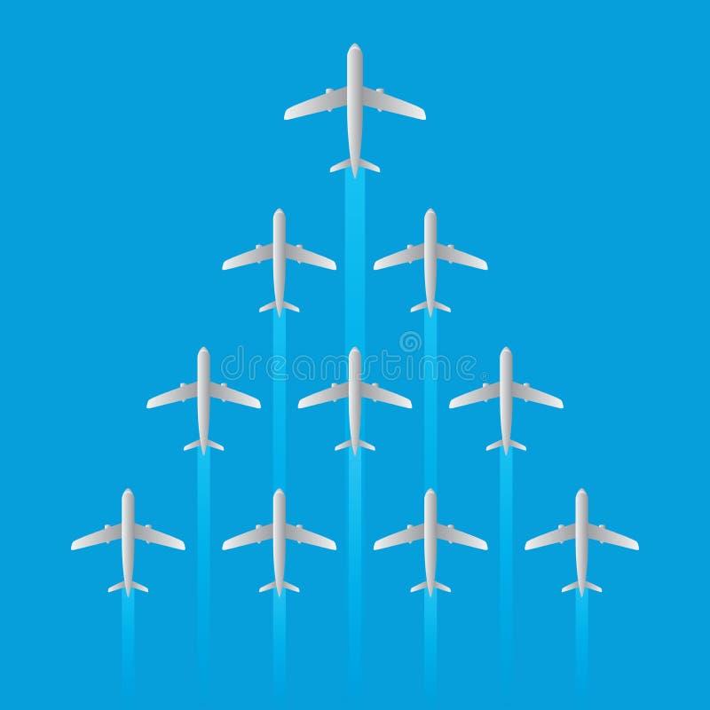 El modelo de la flecha del vuelo del jet del aeroplano del líder aisló vector libre illustration