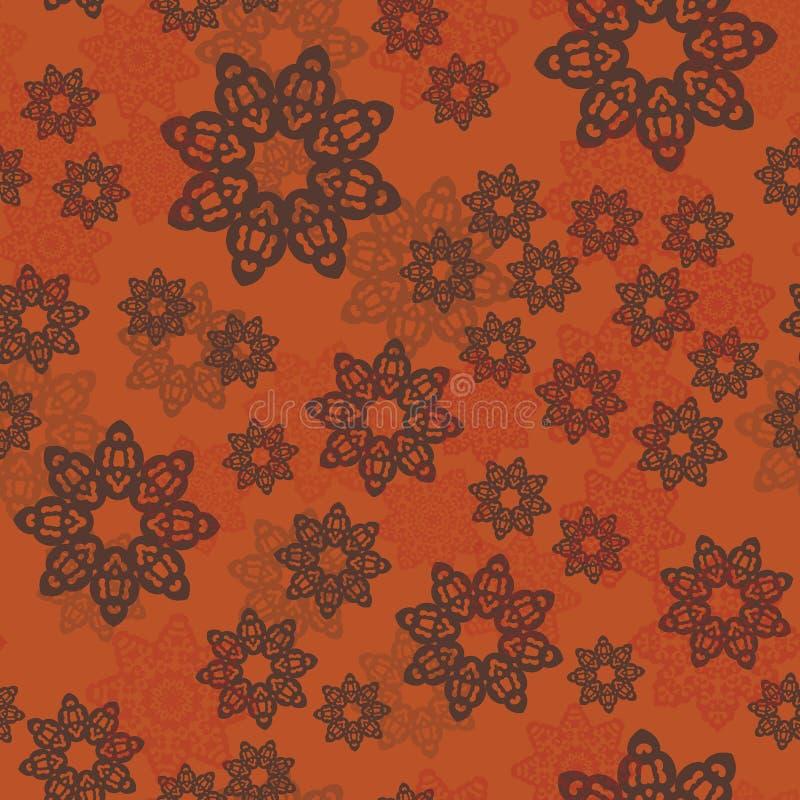 El modelo de la mandala o los elementos florales organizó aleatoriamente el ornamento decorativo Teja inconsútil del fondo del mo stock de ilustración