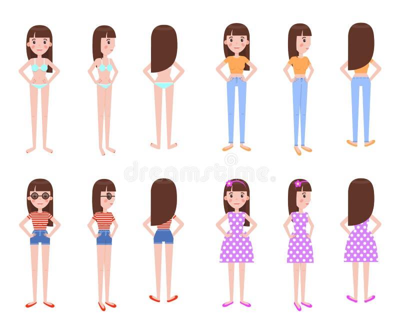 El modelo de la muchacha en verano viste todo el Foreshortenins libre illustration