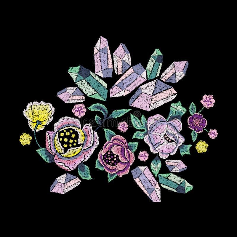 El modelo de la tendencia del bordado con las gemas y las flores para la moda diseñan libre illustration