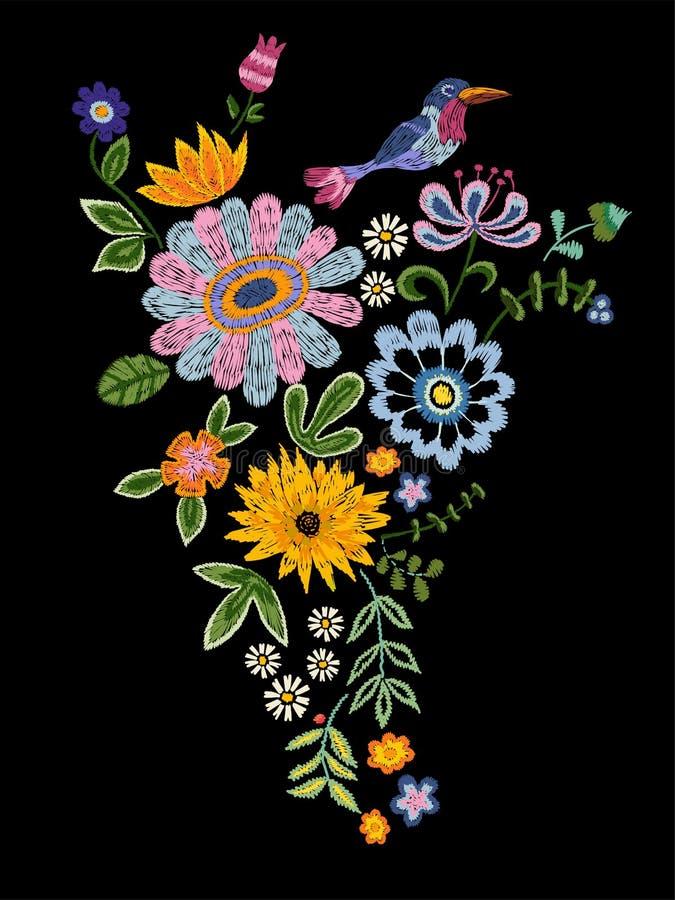 El modelo de la tendencia del bordado con el pájaro y la fantasía florece stock de ilustración