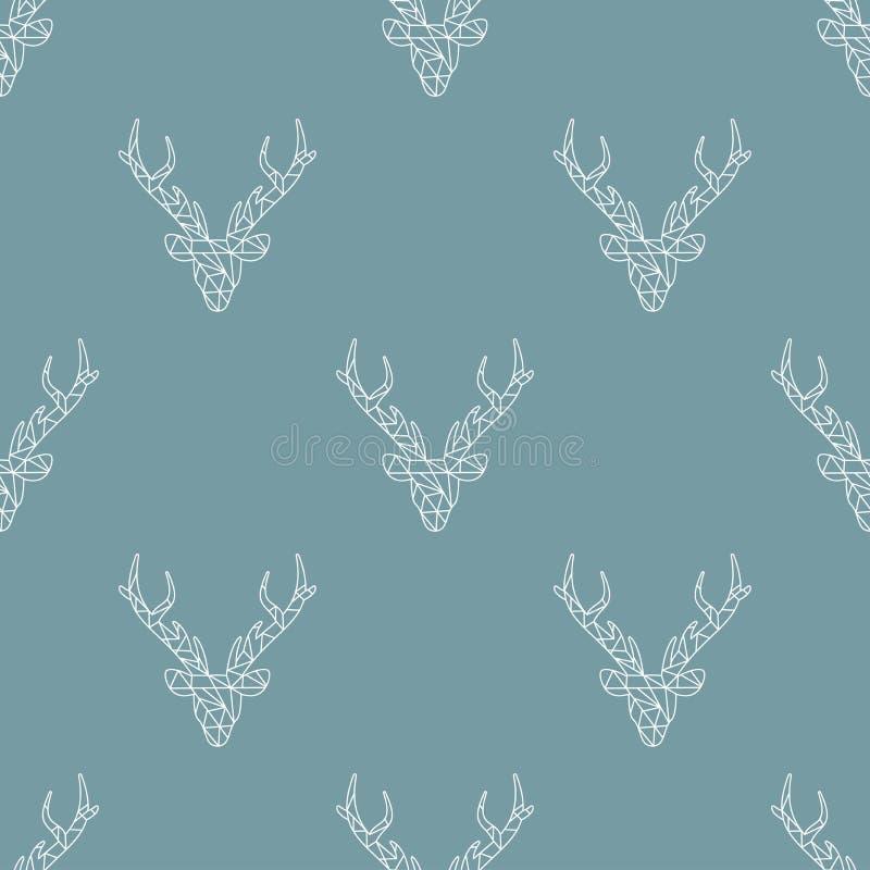 El modelo de mosaico inconsútil del invierno con los ciervos blancos dirige con las astas en fondo azul simple tallado stock de ilustración
