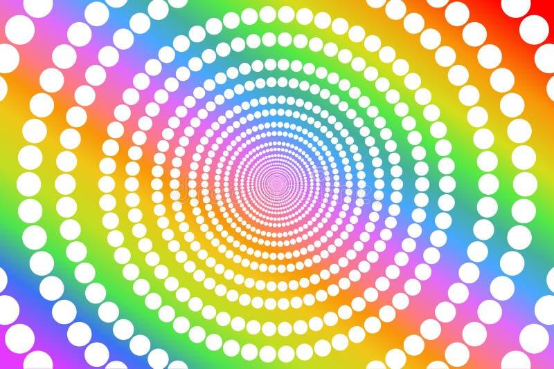 El modelo de puntos redondo blanco circular en el fondo colorido de la textura, colores del arco iris de la pendiente, utilizó lo fotografía de archivo