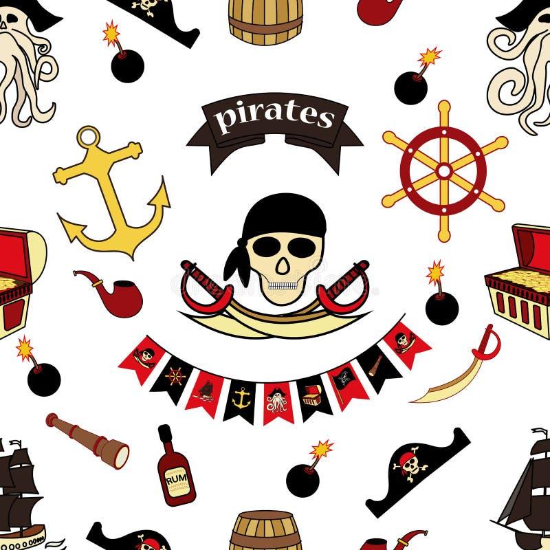 El modelo de Simless piratea dibujos temáticos a mano S?mbolo-espadas del pirata, cofre del tesoro, cr?neo y bandera pirata, Davy stock de ilustración