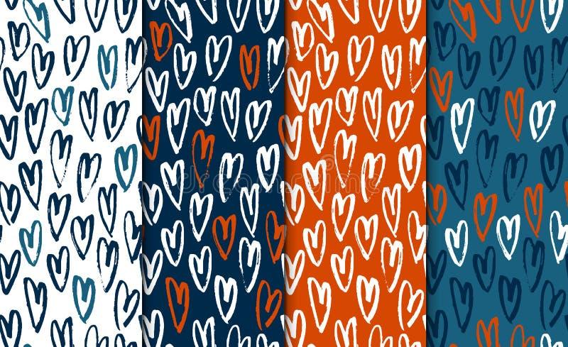 El modelo dibujado mano inconsútil abstracta fijó con los corazones Texturas modernas de la carta blanca Garabato minimalistic co libre illustration