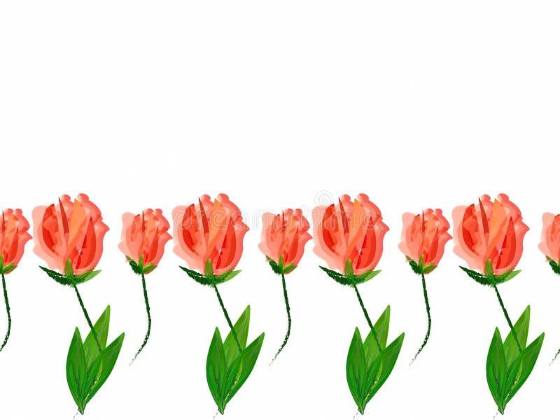 El modelo en las flores rojas del fondo blanco texturiza adornos florales del extracto de la frontera del fondo ilustración del vector