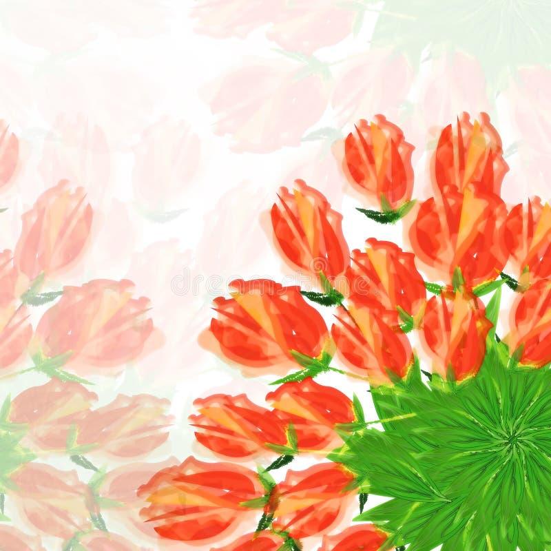 El modelo en las flores rojas del fondo blanco texturiza adornos florales del extracto de la frontera del fondo libre illustration