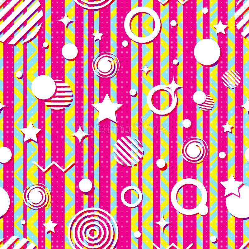 El modelo geométrico brillante inconsútil de tiras, zigzag, círculos, protagoniza Colores que ponen en contraste brillantes, dise libre illustration
