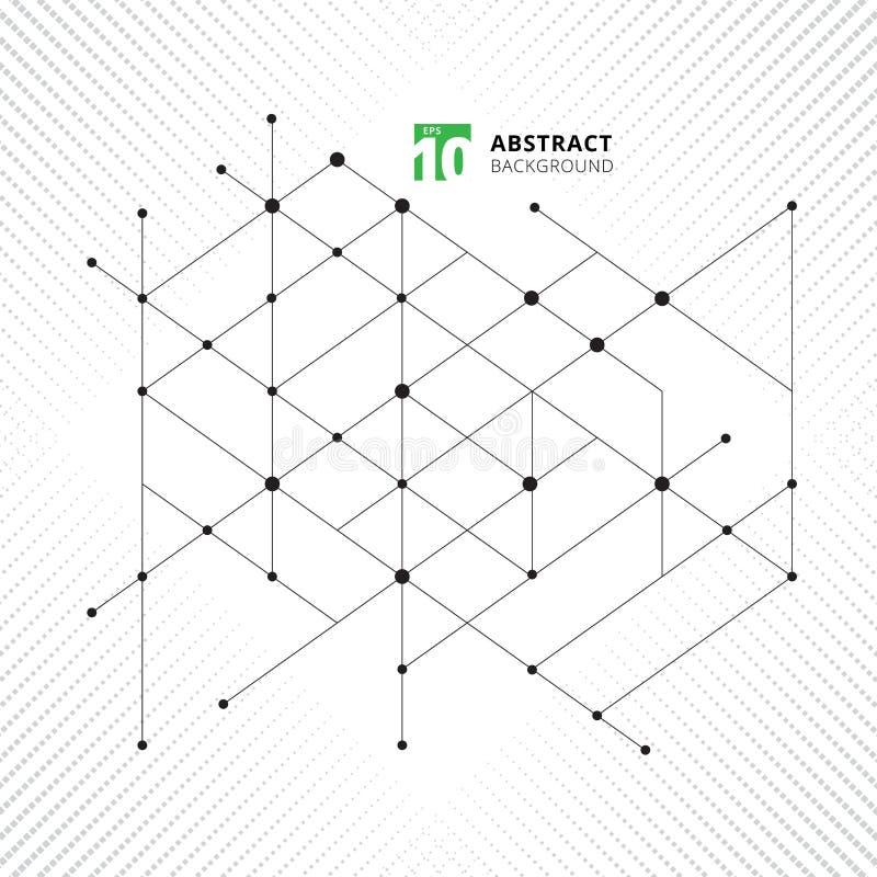 El modelo geométrico de la estructura moderna abstracta alinea technolo negro libre illustration