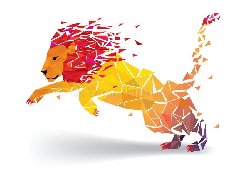 El modelo geométrico del polígono de Lion Low estalla - Vector el ejemplo stock de ilustración